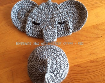Crochet Elephant Baby Hat and Tushy Cover
