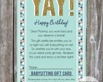Babysitting Gift Card PDF -  {instant download} for a girlfriend / mom