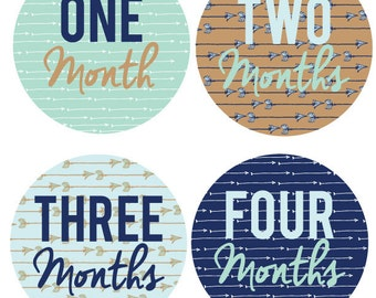 INSTANT DOWNLOAD - Monthly Onesie Labels - Modern Mint Arrow Onesie Labels (Months 1-12)