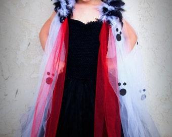 Cruella Deville inspired by 101 Dalmations, tutu dress costume
