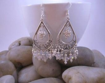 Elegant Chandelier Earrings - White