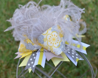 Gray and yellow bow Over the top bow yellow and gray yellow over the top gray over the top