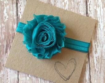 Shabby Flower Headband -Turquoise, Turquoise Flower Heaband, Blue Green, Newborn, Baby