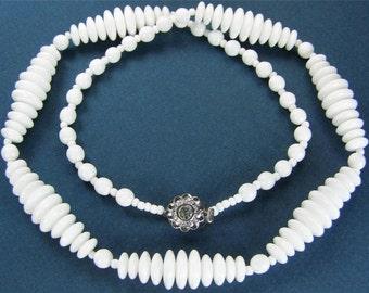 Jablonec White Glass Beaded Double Strand Necklace - Free Ship USA