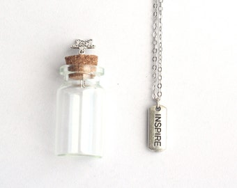 INSPIRE Mantra Charm, Silver Necklace with a tiny glass bottle, Graduation Gift, Party Favors, Wedding Favor, Wedding Souvenir