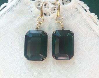 Emerald Green Rhinestone Rhinestone Earrings, Antique Gold, Large, Vintage, 3/4 X 1 in, 18 X 25 mm