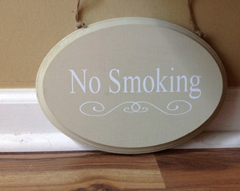 No Smoking/ wooden sign/ shabby chic no smoking sign/no smoing business sign/primitive wood hand painted