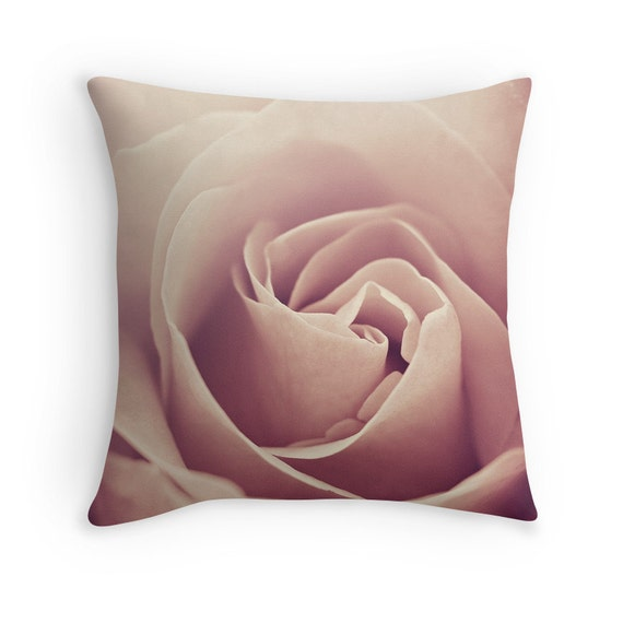 Blush Pink Decorative Pillow : Blush Pink Flower Pillow Decorative Throw PILLOW by InLightImagery