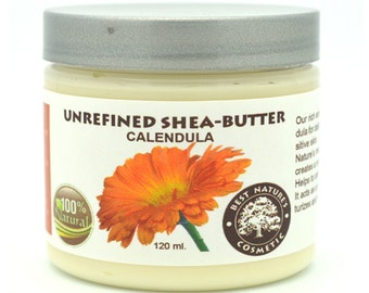 Unrefined Shea - Calendula Butter. Helps to calm inflammation, skin rashes, baby diaper / barrier cream, for dry or chapped skin.