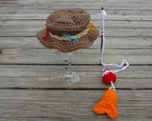 Crochet Newborn Baby Fisherman Photo Prop Outfit  Fishing Hat, Fish and Bobber Set Shower Gift 0-3,3-6 Months