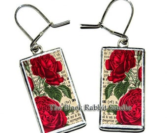 Red Rose - Tiffany technique - handmade glass earrings