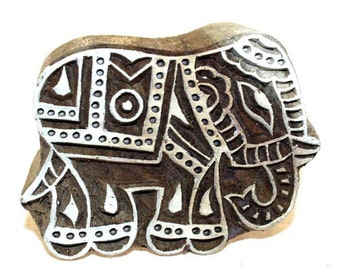 Handcarved Indian Wood Block Printing Stamp  - Large Elephant