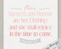 Baby Dedication Gift // Name Print // Proverbs 31 // Custom // 8x10 // Choose Verse & Colors