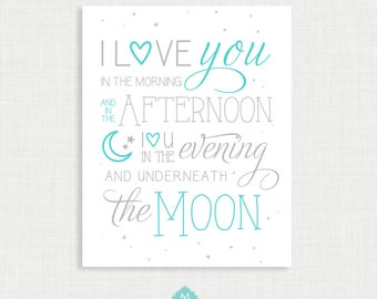 Nursery Wall Decor - Wall Art- I Love You to the Moon and Back - Nursery Art - Wall Decor  - instant Digital Download