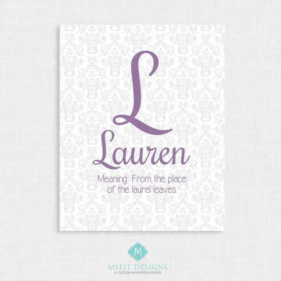 Initial Wall Art- Name Meaning Poster - Demask Name Wall Art Print, Digital Printable Wall Decor-Poster