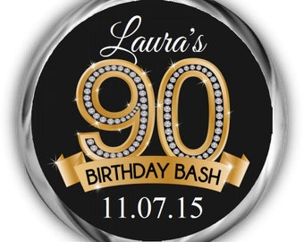 90th Birthday Stickers - Personalized Birthday Labels
