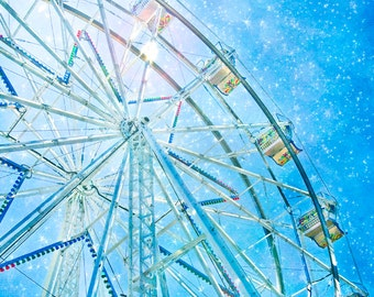 Ferris wheel, stars, wall decor, wall hanging, wall art, blue - nursery photograph