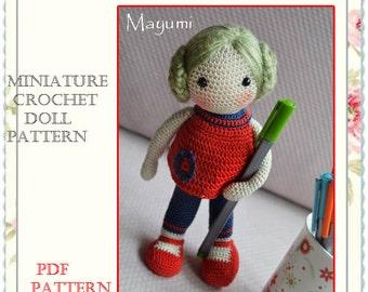 """PATTERN  Miniature crochet doll pattern  """" Two Dolls  in One  PATTERN """""""