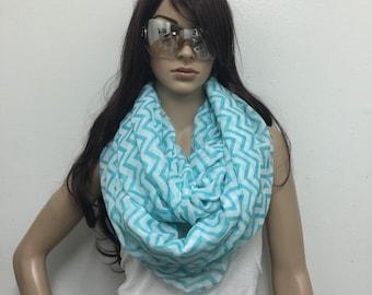 Zig Zag Infinity scarf , Chunky Infinity Scarf Loop Scarf,blue aqua scarf , women scarf,Chunky lightweight infinity scarfs by  Lorenovedades