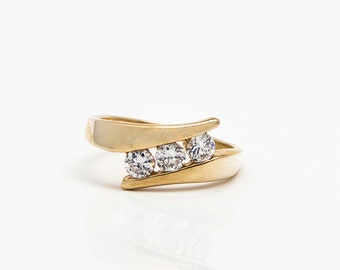 Eva's Engagement ring - 14k gold plated and White Zirconia engagement ring - Affordable engagement ring- Free Shipping