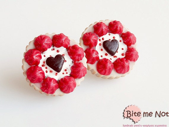 Polymer Clay Sweets Valentine Tarts Stud Earrings, Mini Food Jewelry, Miniature Sweets, Kawaii Jewelry, Cute Jewelry, Miniature Food Jewelry