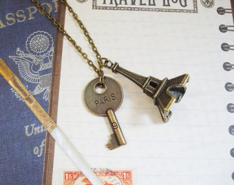 LONG PARIS necklace in bronze tone with large 3D Eiffel tower and double sided hotel room key with PARIS and hotel room number