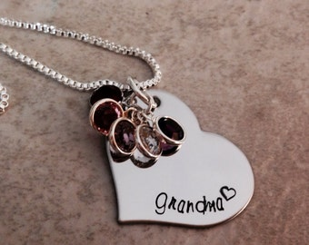 Personalized grandma necklace personalized mothers necklace hand stamped necklace monogrammed Swarovski birthstones jewelry