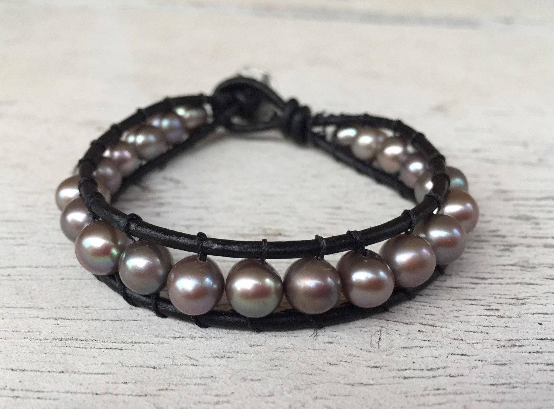 leather freshwater pearl bracelet. Black Bedroom Furniture Sets. Home Design Ideas