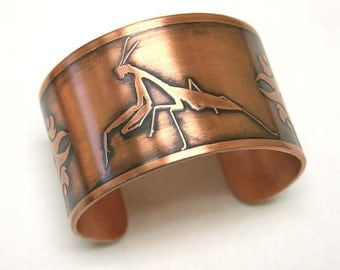 Praying Manits, Handmade Etched Copper Cuff Bracelet
