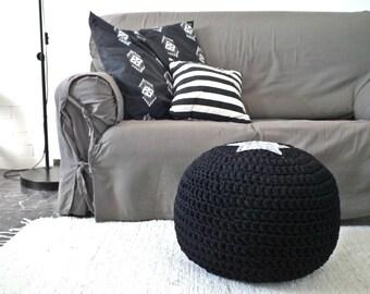 Black Ottoman-Pouf-Footstool-Floor Cushion-Star Design-Knit Ottoman-Kids Furniture-Bean Bag Chair-Crochet Pouf-Kids Pouf-Floor Pillow-Pouffe