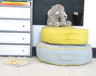 Round Floor Cushion, Floor Pillow Seating, Pouf Cover, Kids Floor Pillow, Yellow / Grey Nursery Cushion, Playroom Decor, Meditation Cushion