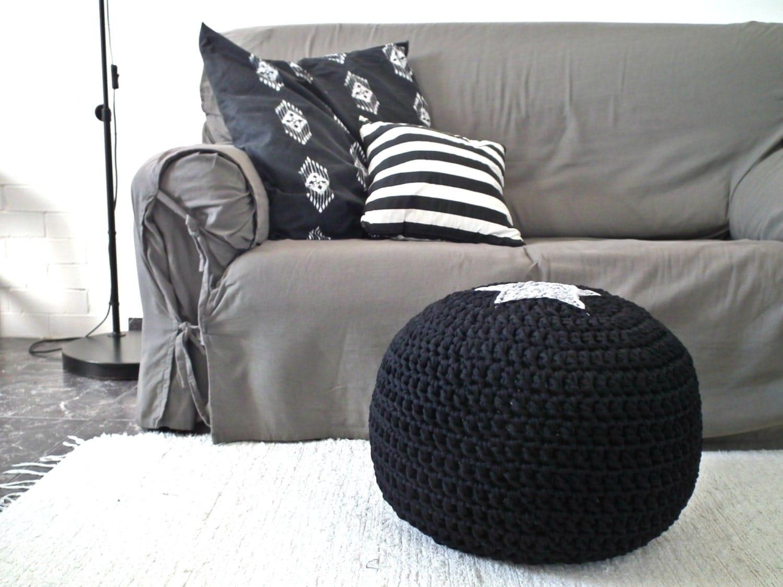 Black And White Pouf Black Ottoman Pouf Footstool Floor Cushion Star Pouf Knit