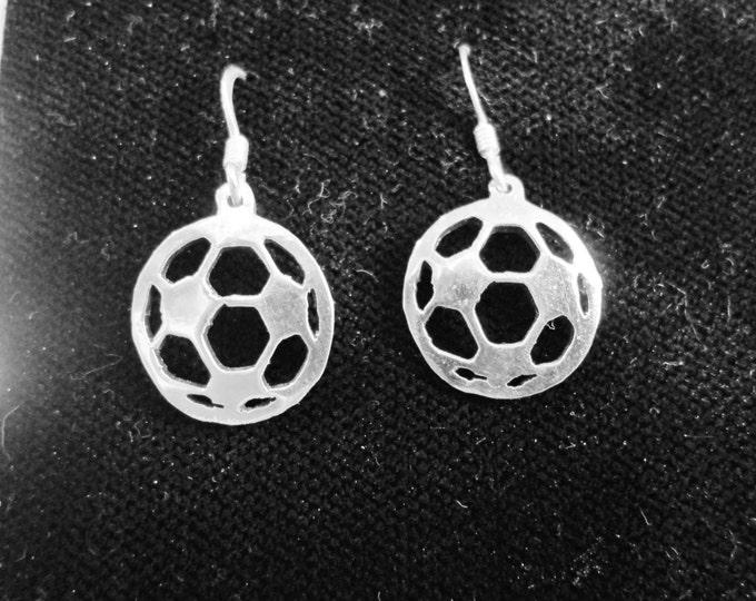Soccer ball earrings w/sterling silver ear wires dime size
