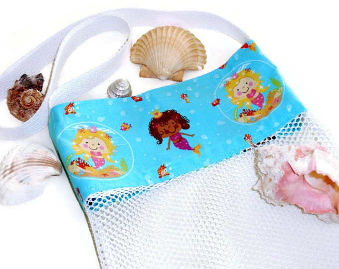 Mermaid Bag, Girls Beach Bag, Shell Collecting Tote, Mesh Sand Toy Bag, Cross Body Shoulder Bag, Pool or Bath Toy Bag, Gift For Girls