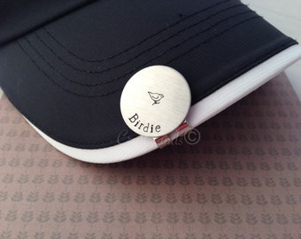 Hand Stamped Personalized Golf Ball Marker and Magnetic Hat Clip.