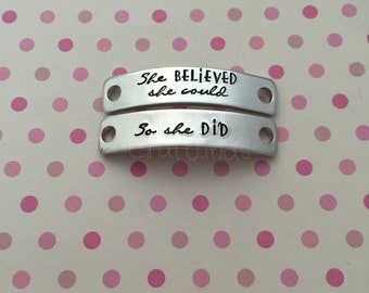 "Hand Stamped Lace Plates For Your trainers. ""she BELIEVED she could- So she DID"" personalised options available, fitness, train"
