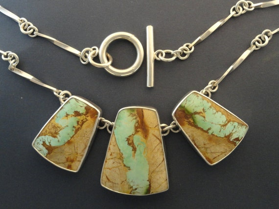 Royston ribbon 3 stone necklace boulder turquoise for Royston ribbon turquoise jewelry