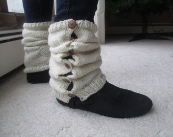 Off White Boot Cuffs - Leg Warmers - Boot Toppers - Boot Covers