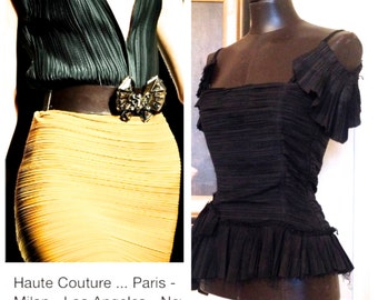 Haute Couture Black Pleated Top / High Fashion Style.