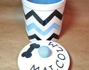 Personalized 3 Mixed Chevrons Dog Treat Jar with Rubber Seal Lid - Medium
