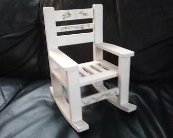 Vintage 90s Wooden Doll Rocking Chair, Painted White with Primitive Hand Painted Flowers