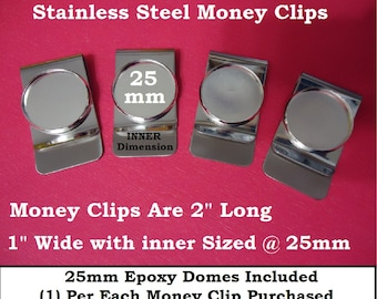 12 OR 18) Silver Blank Money Clips Stainless Steel Epoxy Domes fit 25mm DIY Craft Jewelry Findings Gift Men Money Clip Cabachon Rhinestone