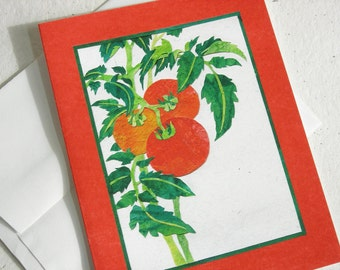 Red Tomatoes Card, Collage Art Card, Garden Vegetable Note