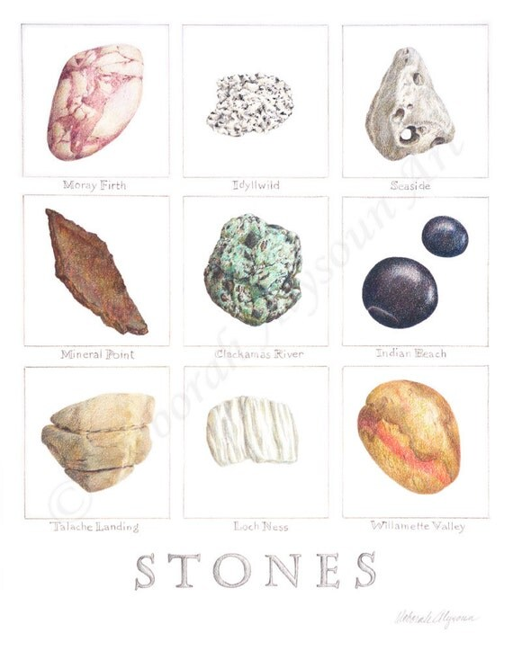 Marble Colored Pencil Drawings Of Clusters : Items similar to colored pencil stone studies art print