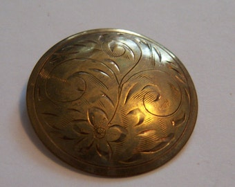 Stamped GF Etched Fern Circle Brooch. Embossed Flower Pin.