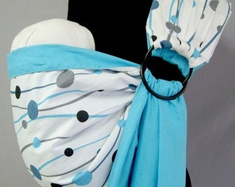 SALE, sling Ring/Sling with Rings/Baby sling Carrier/Reversible Baby Sling/Baby Wrap/Blue,White/ SALE!!!