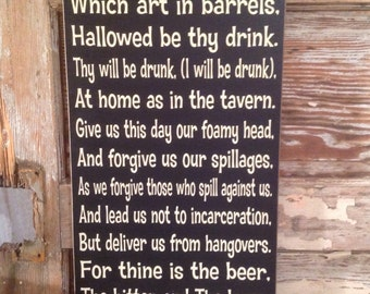 The Beer Prayer Sign  12x24  Funny Beer  Wood Sign. Great for your bar or man cave