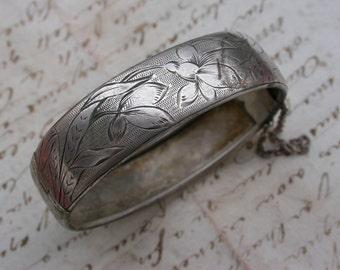 French antique  1900S solid  sterling silver  bracelet  large jong bracelet stamped sterling art nouveau bracelet engraved flowers bangle