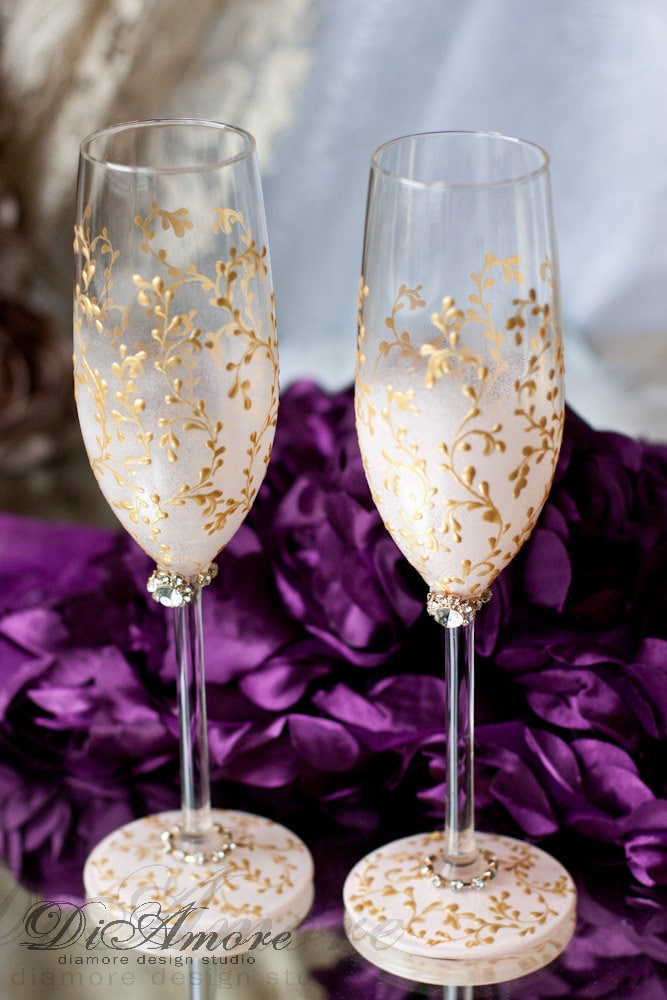 blush pink and gold personalized wedding set champagne flutes