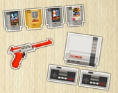 Retro Video Games Console Stickers - 8 Pack - FREE US SHIPPING